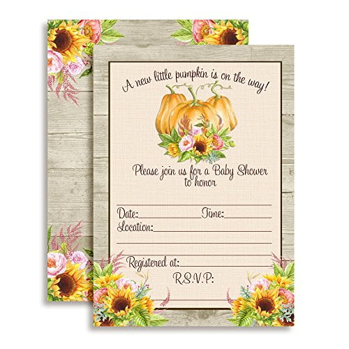 Sunflower Peony Floral With Pumpkins Baby Shower Invitations
