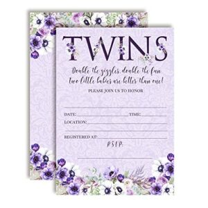 Watercolor Violets Baby Shower Invitations for Twins