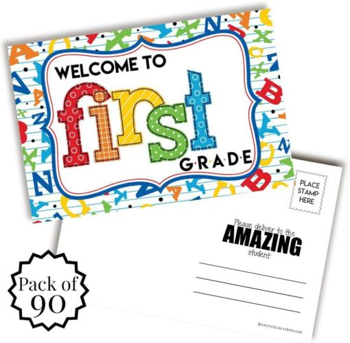 Welcome To 1st Grade Alphabet Themed Blank Postcards
