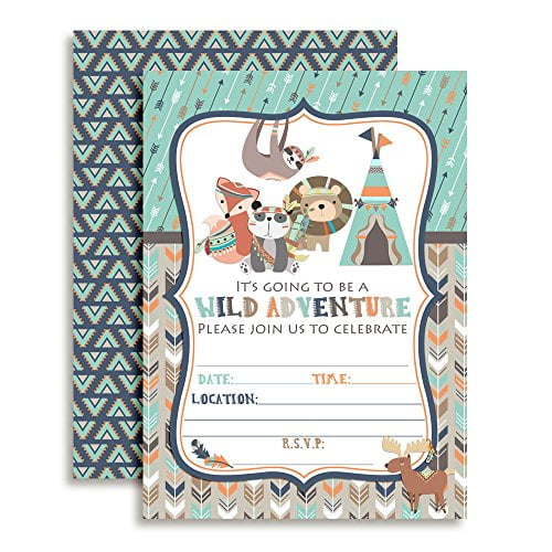 Wild Adventure Tribal Birthday Party Invitations (Boy)