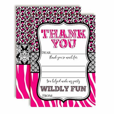 Hot Pink Animal Print Thank You Cards